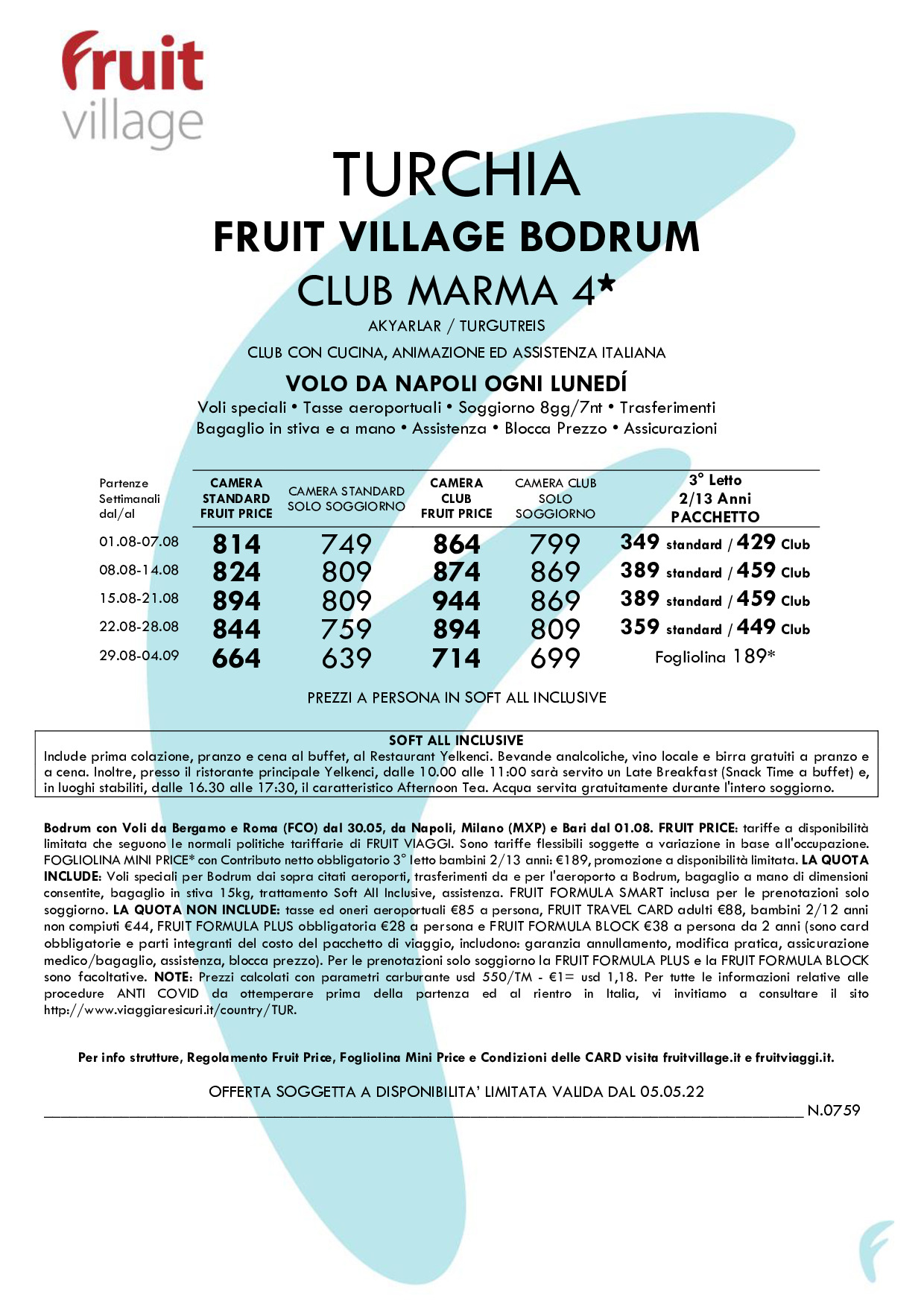 FRUIT VILLAGE Bodrum Club Marma con voli da Napoli