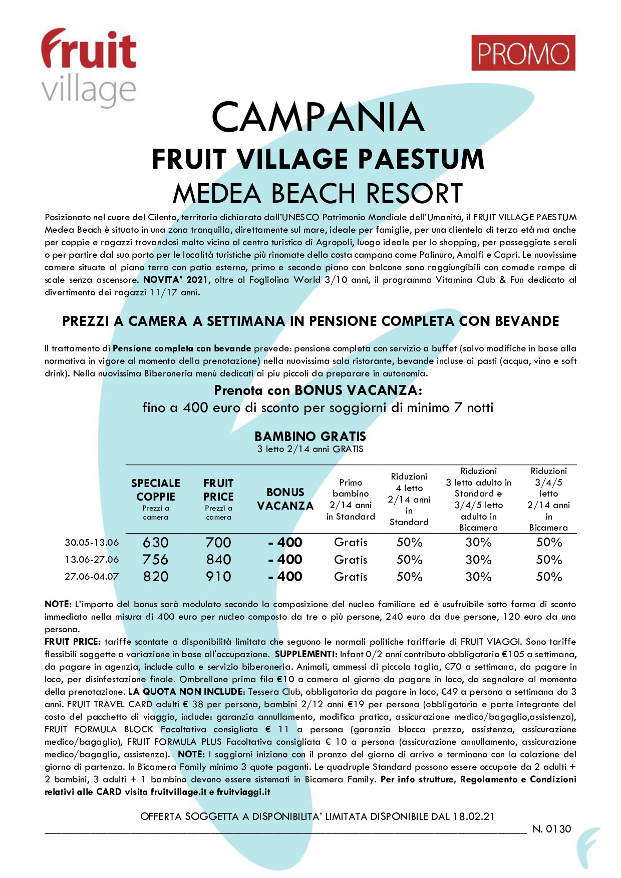 FRUIT VILLAGE Paestum Medea Beach Resort SPECIALE BONUS VACANZA